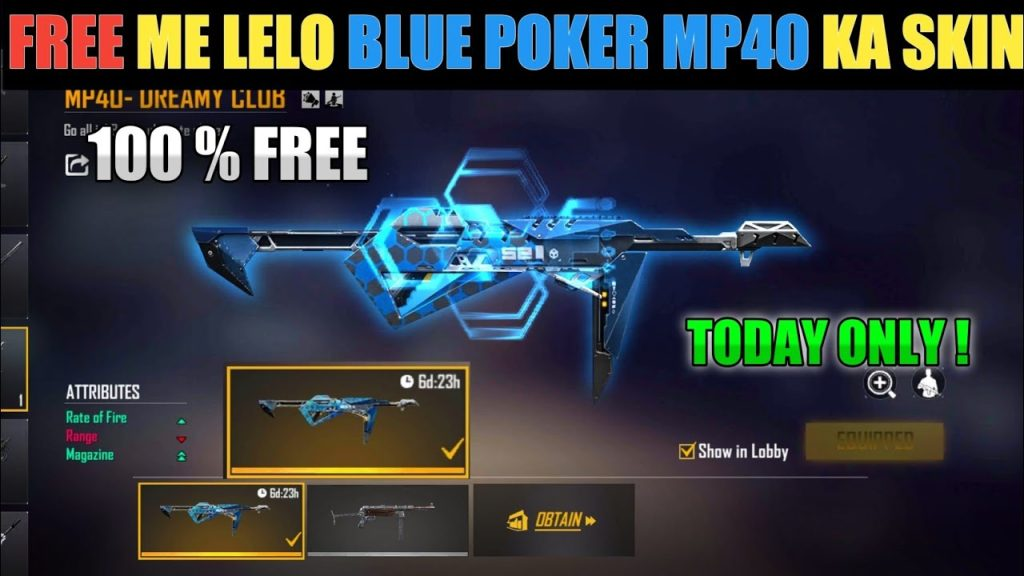 Free Fire Redeem Code Today New Get Blue Poker Mp40 Skin In Free Fire Game